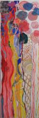 Pintura encarnada com azul, amarelo e verde