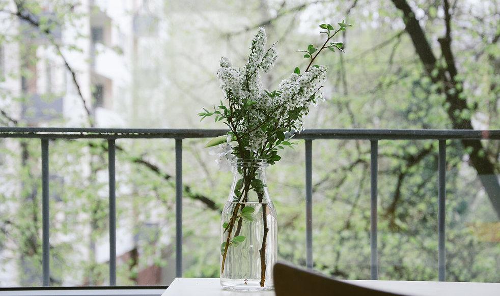 バルコニーに花