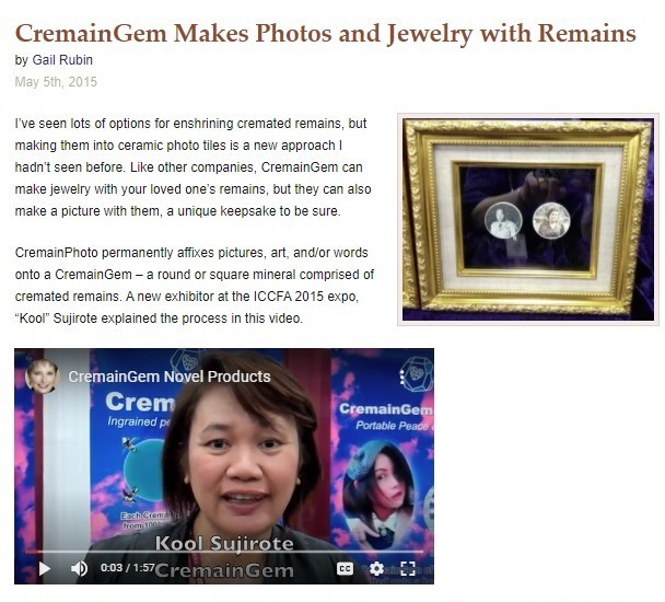 CremainGem Makes Photos and Jewelry with Remains by Gail Rubin