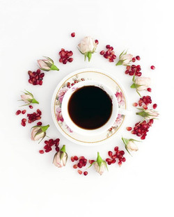 Coffee Roses & Pomegranate