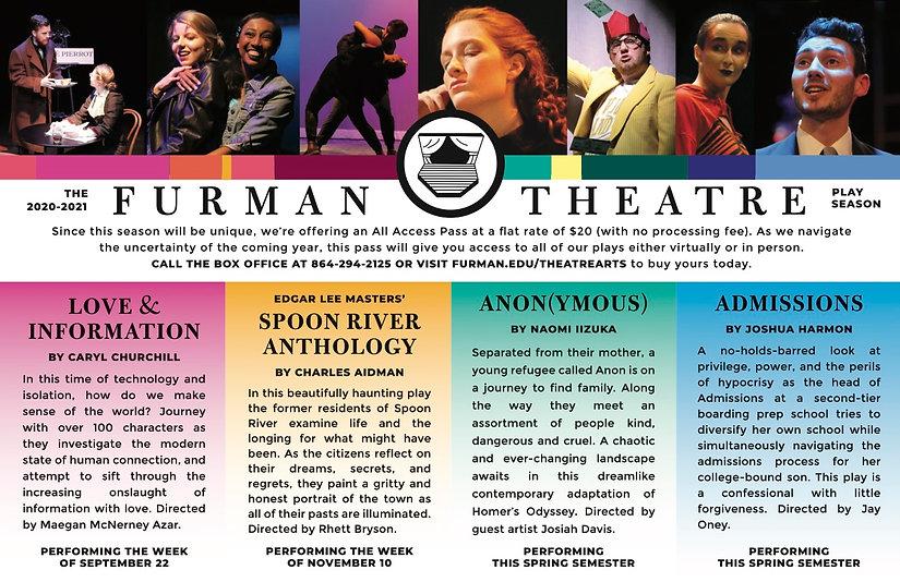 Furman Theatre 2020-2021 Season postcard
