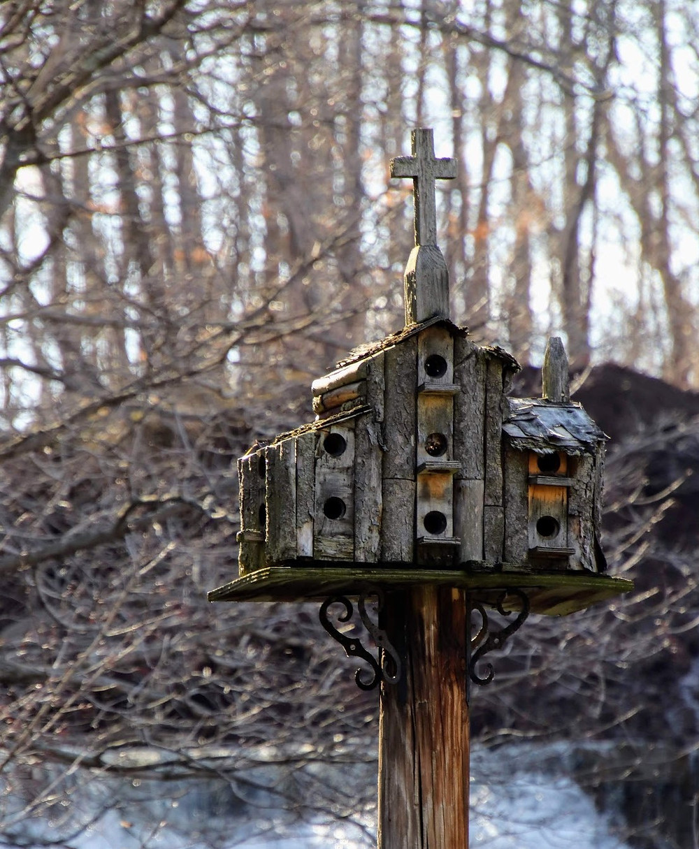 Rustic Birdhouse with Cross