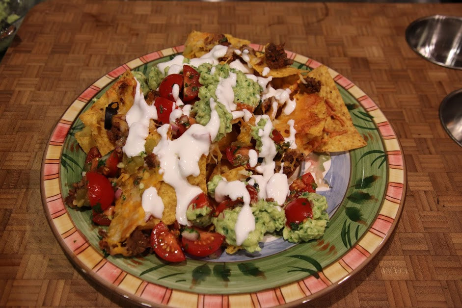 Baked Super Bowl Nacho with Fresh Toppings
