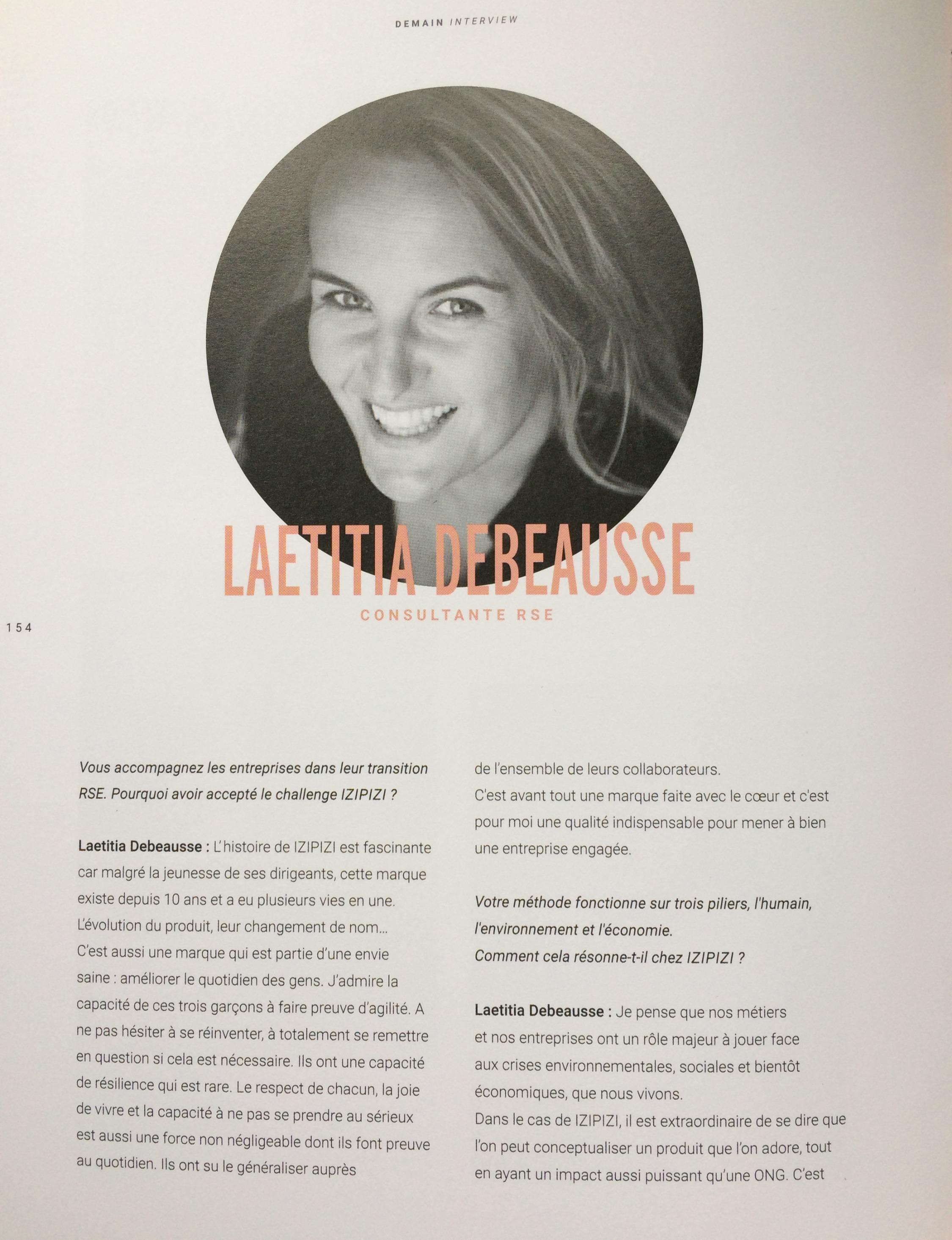 Interview de Laetitia Debeausse dans le livre des 10 ans d'Izipizi