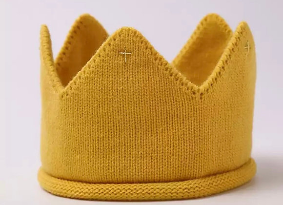 Knitted crown (mustard or grey)