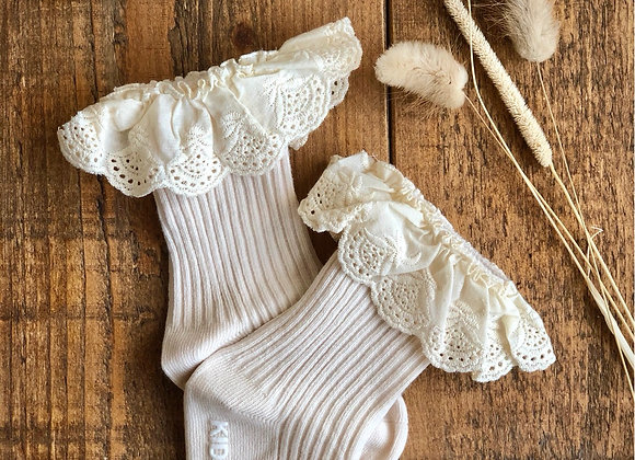 Cotton lace socks BEIGE