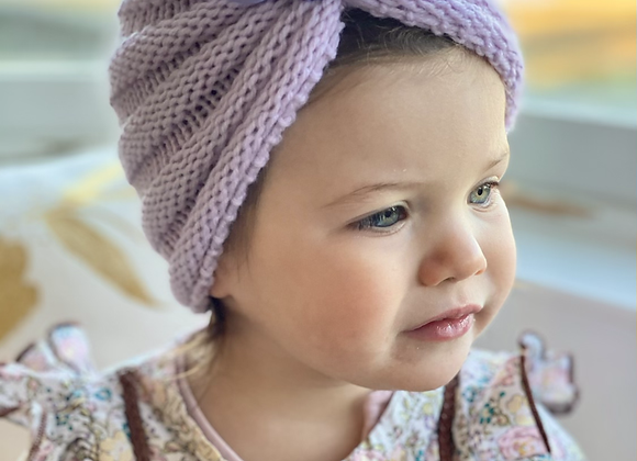 Knitted hat (lilac, mint or pink)