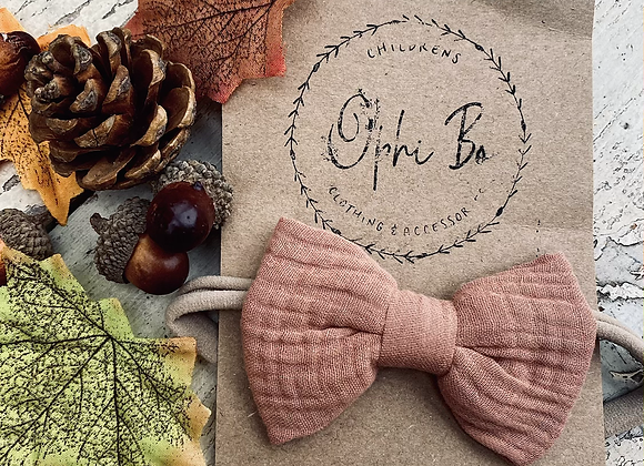 Zara bow headband (chestnut or beige)