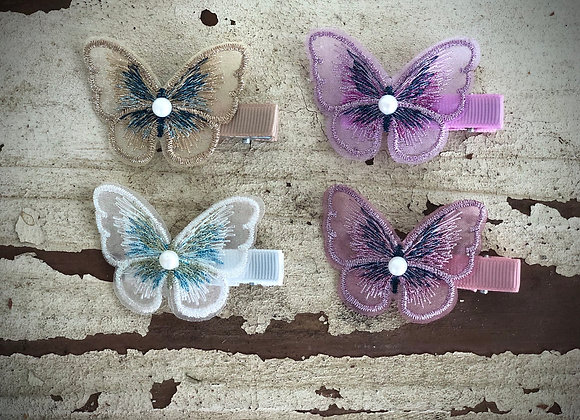 Embroidered butterfly hair clips (x2)