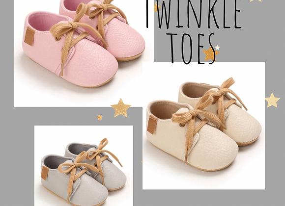 Twinkle toes pre-walkers (pink, oat or grey)