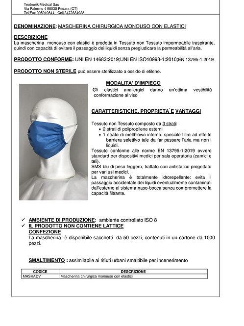 Mascherina Chirurgica 3 strati con elastici