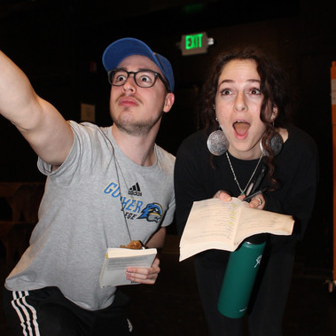 Shoshi Greenberg and Aril hiller goofing around in rehearsal