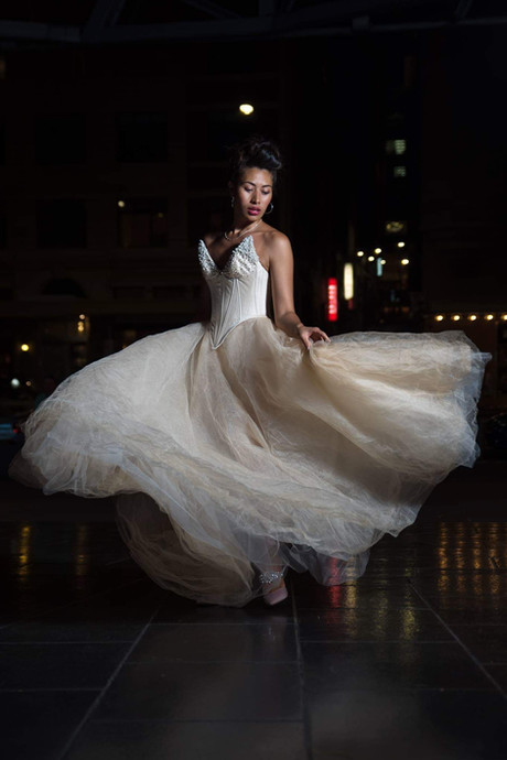 Pearl and crystal encrusted corset and custom dyed tulle skirt