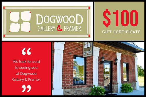 $100 Dogwood Gallery & Framer Gift Certificate