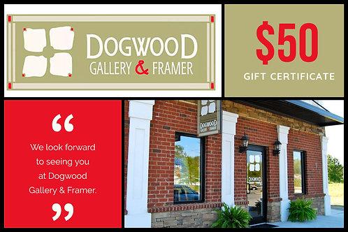 $50 Dogwood Gallery & Framer Gift Certificate