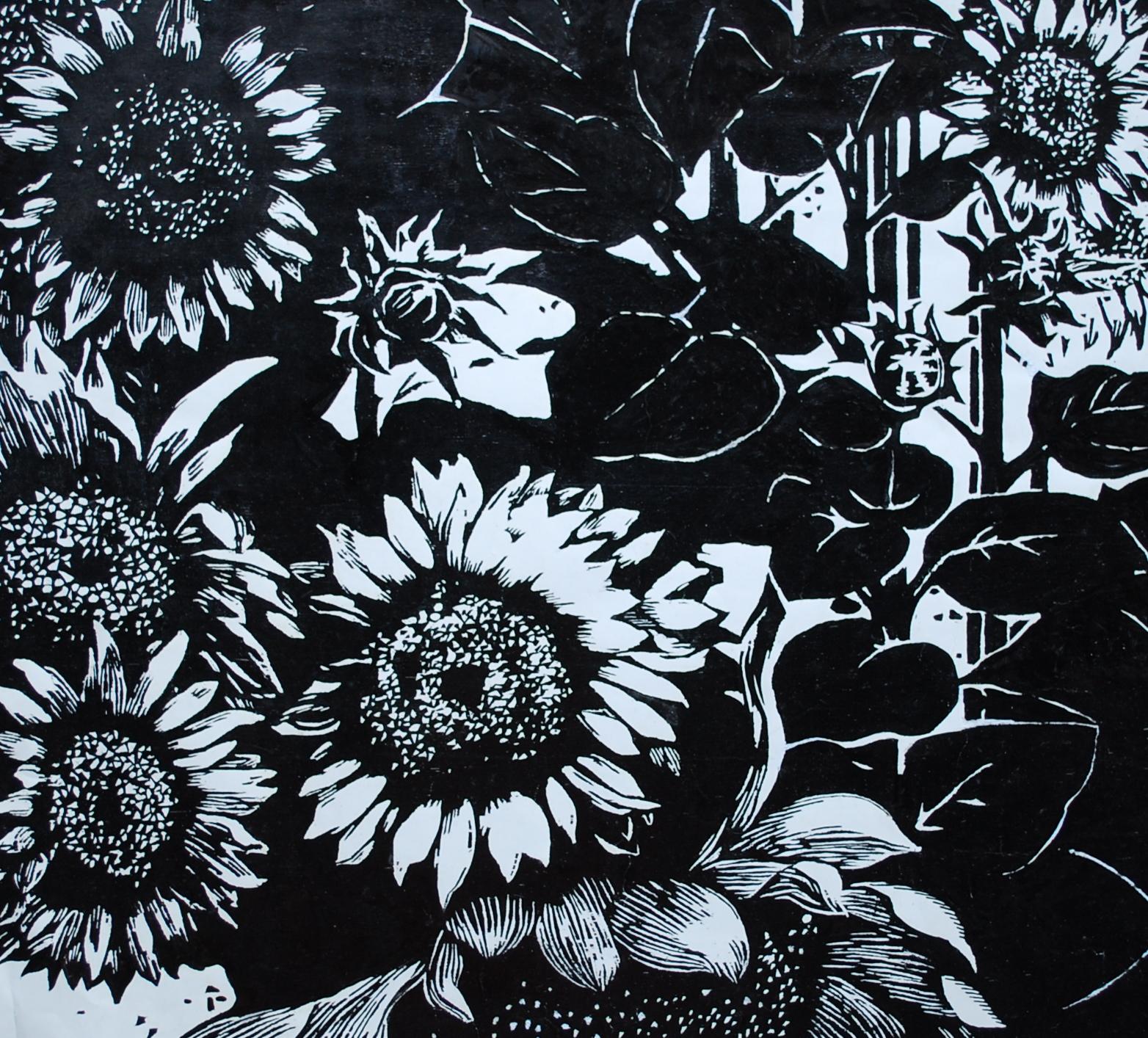 Woodblock Sunflower