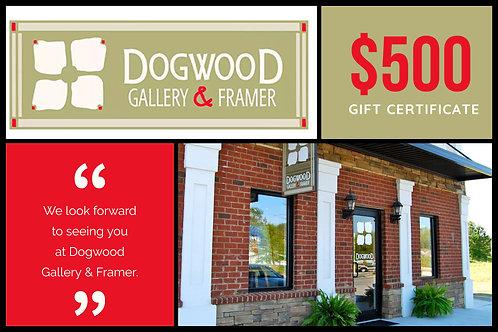 $500 Dogwood Gallery & Framer Gift Certificate