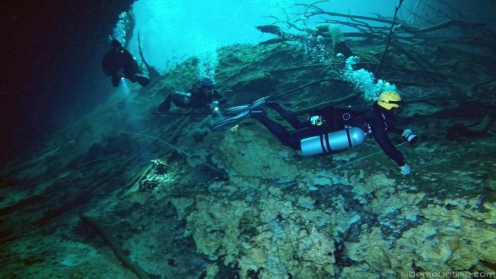 Sidemount Cavern Divers in Cenote Aktun Ha, Mexico