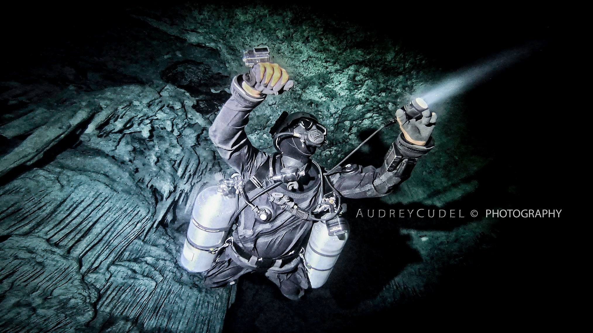 Sidemount Technical Cave Diver from below