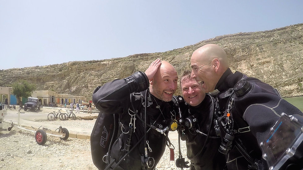Technical divers at the Inland Sea, Gozo