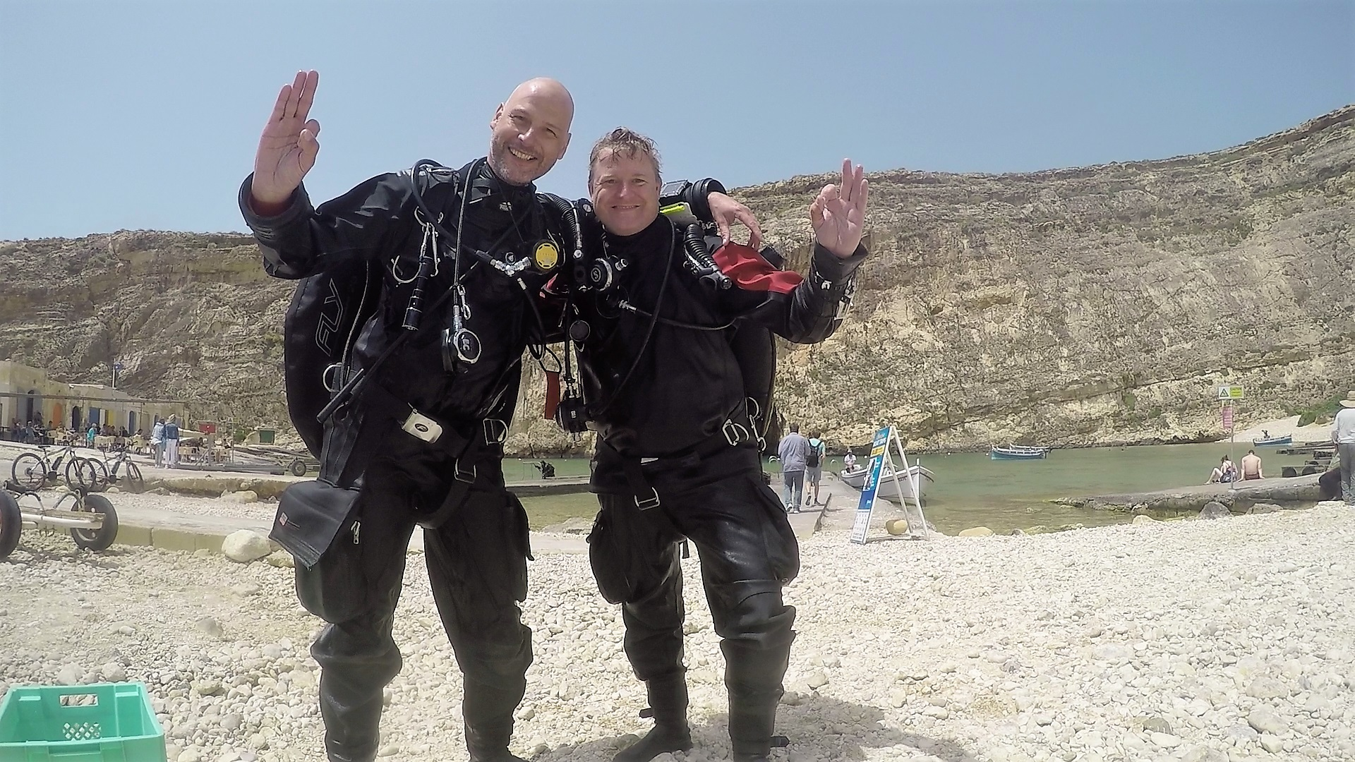 PADI Tec 50 divers giving a big OK after completing the course