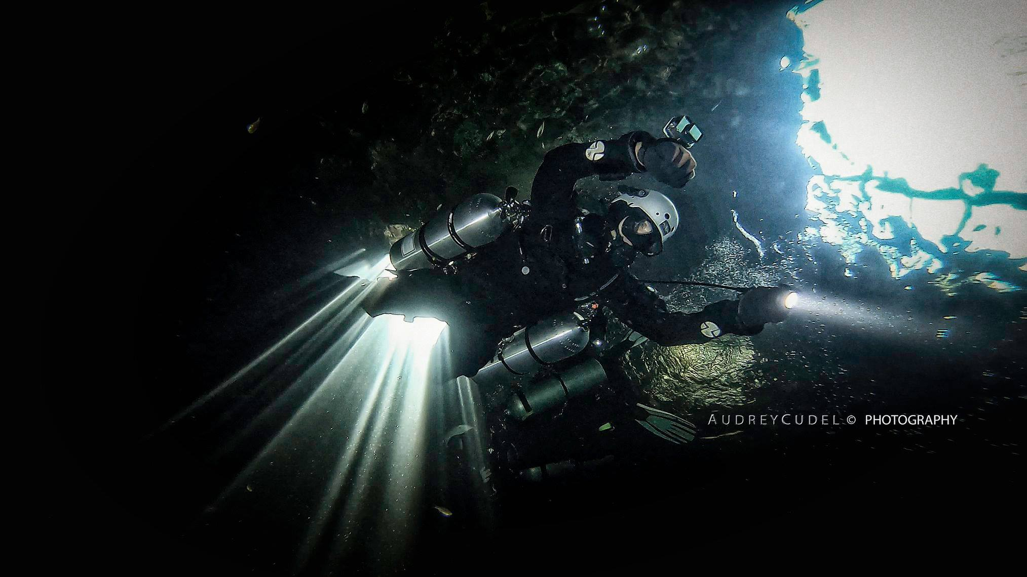 Sidemount Technical Cave Diver at Cenote Xacil Ha