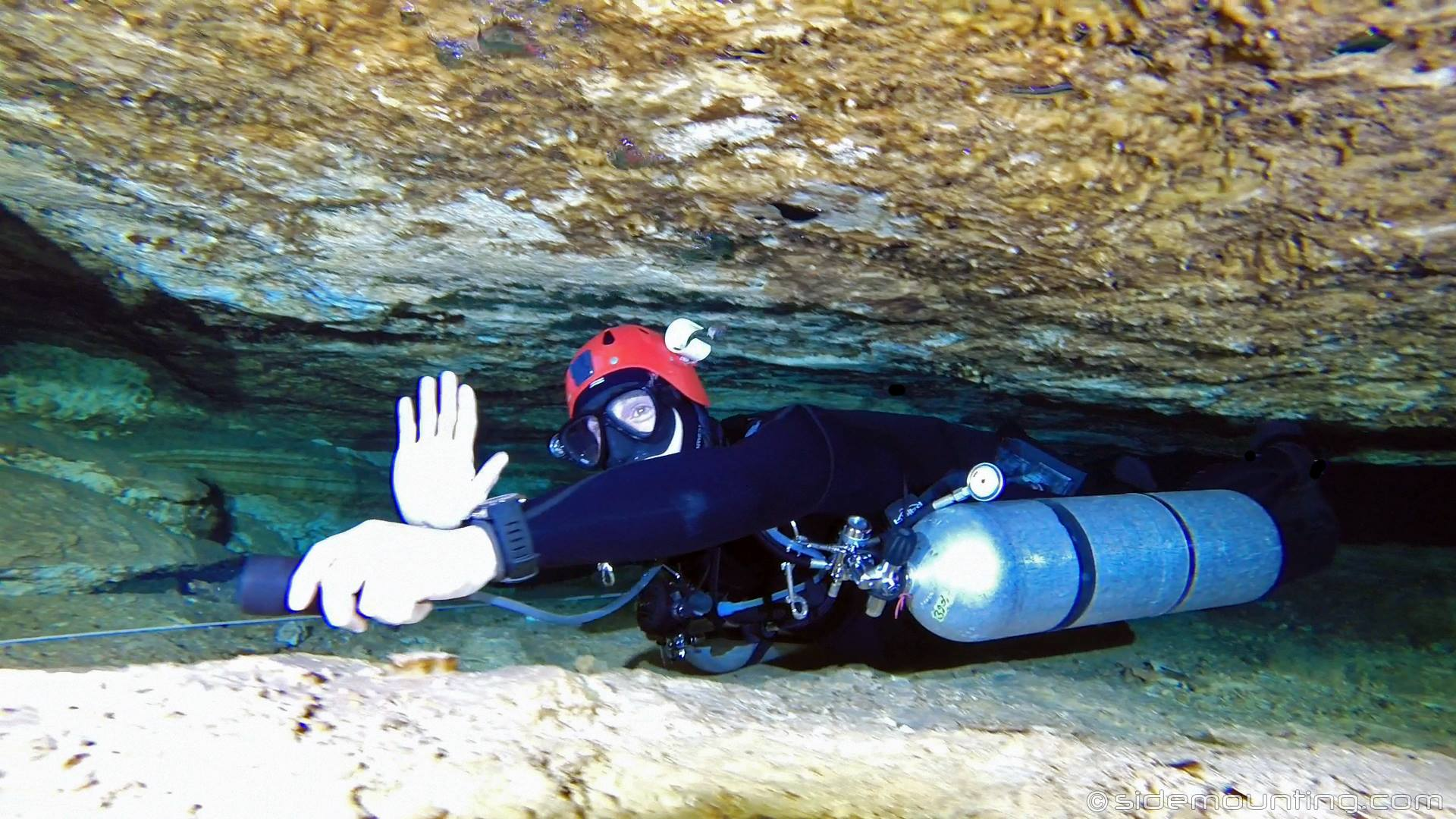 Cave Diver in a restriction