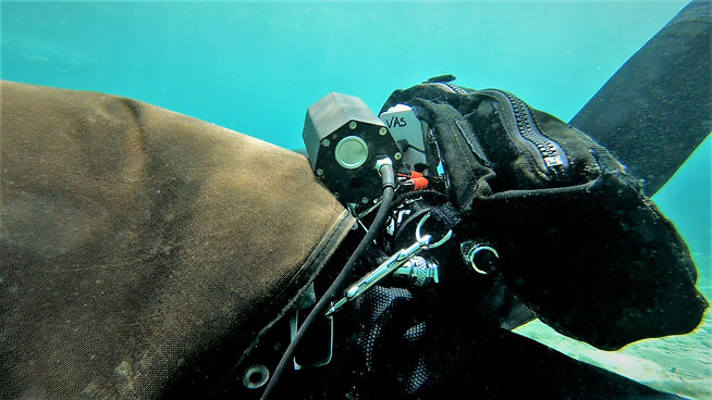 Technical diving equipment in use