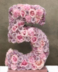 Blomstersiffra 5 lila rosor & nejlikor a