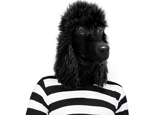 Black Standard Poodle Dog Costume Face Mask