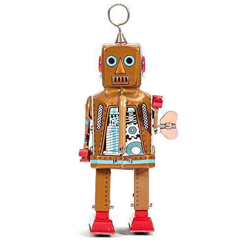 Retro Vintage Style Space Robot Wind-Up Key Motor (Gold)