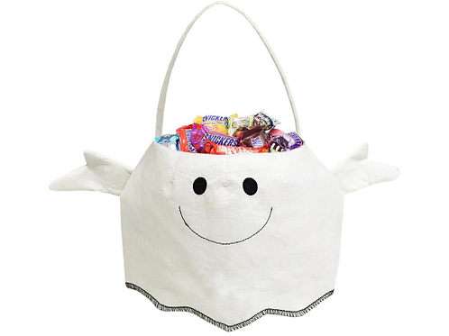 Adorable White Ghost Embroidered Trick or Treat Candy Bag for Halloween