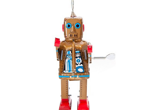 "Vintage Style Wind Up 7.75"" Tin Robot"