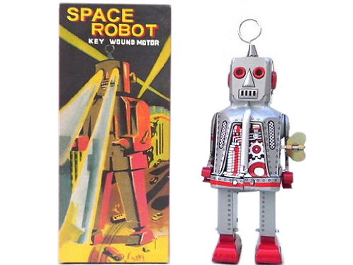 Retro Vintage Style Space Robot Wind-Up Key Motor (Silver)