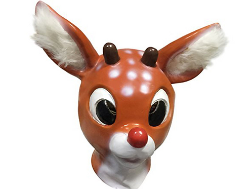 Vintage Style Holiday Christmas Red Nose Reindeer Mask