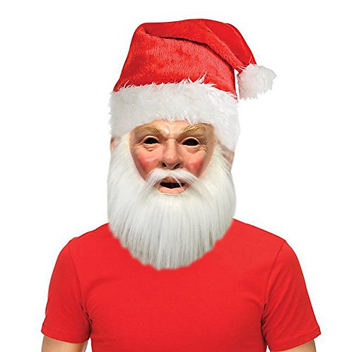 Holiday Christmas Santa Costume Mask with Free Santa Hat Accessory