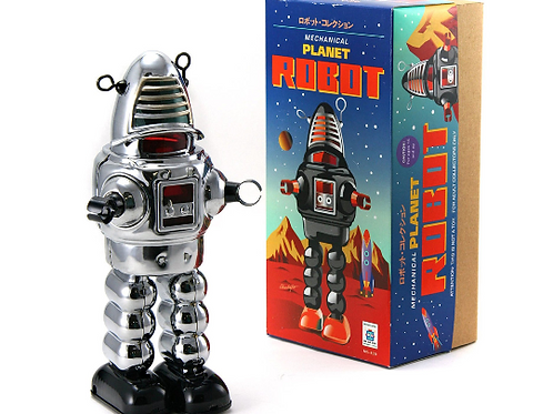"""Vintage Style Collectible Wind Up Chrome Planet Robot Wind Up 8.5"""""""