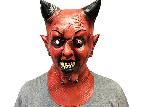 Creepy Red Horned Devil Halloween Adult Costume Face Mask