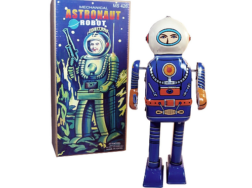Rare Find Retro Tin Toy Mechanical Astronaut Robot Collectible Wind-Up Figure