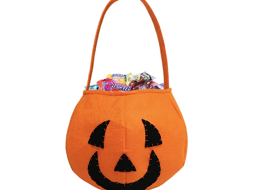 Pumpkin Trick or Treat Embroidered Candy Bag for Halloween Party Costumes