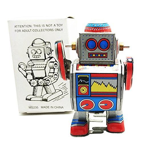 Vintage Style Silver Robot Retro Clockwork Wind Up Tin Toy