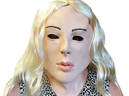 Creepy Lady Costume Face Mask with Blonde Hair