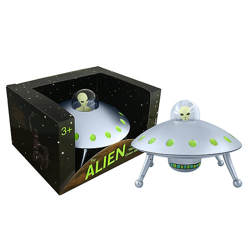 Alien Glow-in-the-Dark UFO Space Ship and Bendable Action Figure Toy
