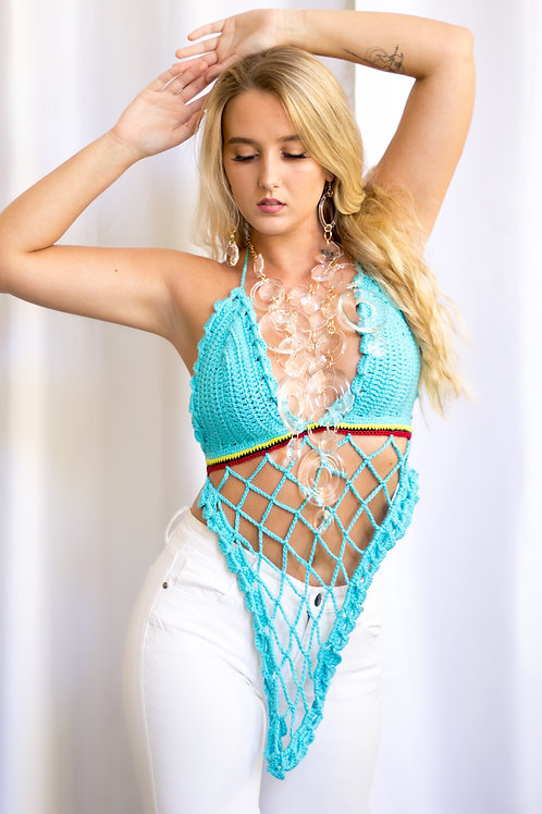 Handmade Crochet Blue Top