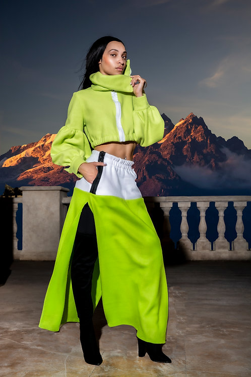 Greto Classic - Lime Green Fleece Cropped Jacket