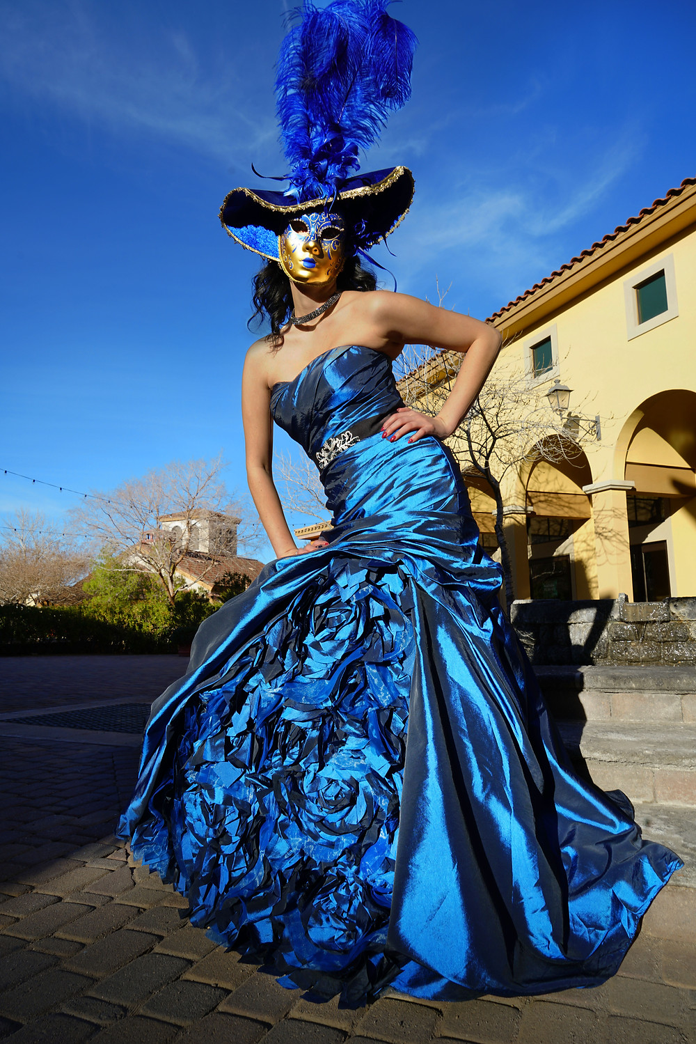 This royal blue crushed crepe fabric gown is fit for a queen.  It is adorned with blue roses and is definately a show stopping piece