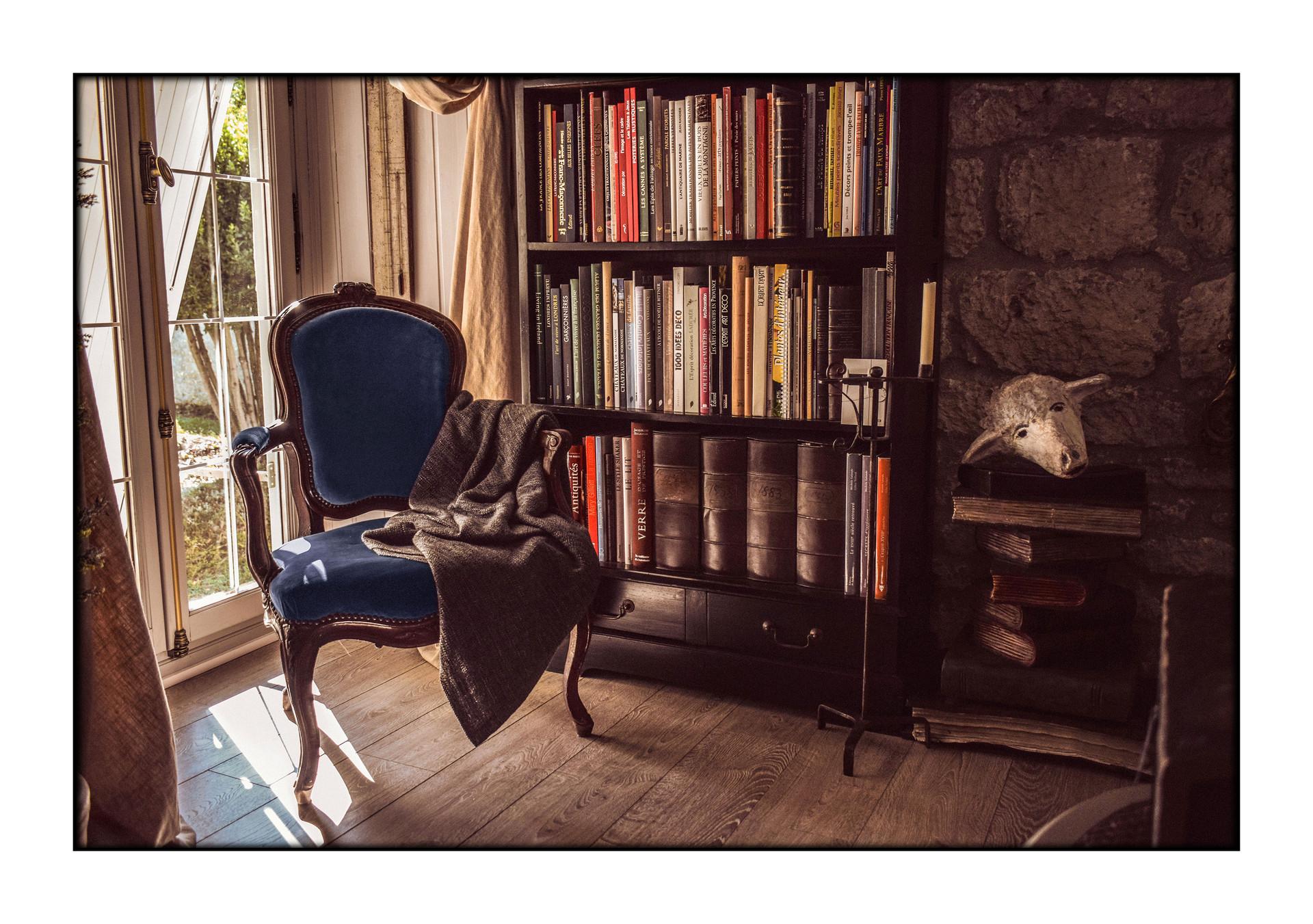 Blue velvet armchair - France, 2018