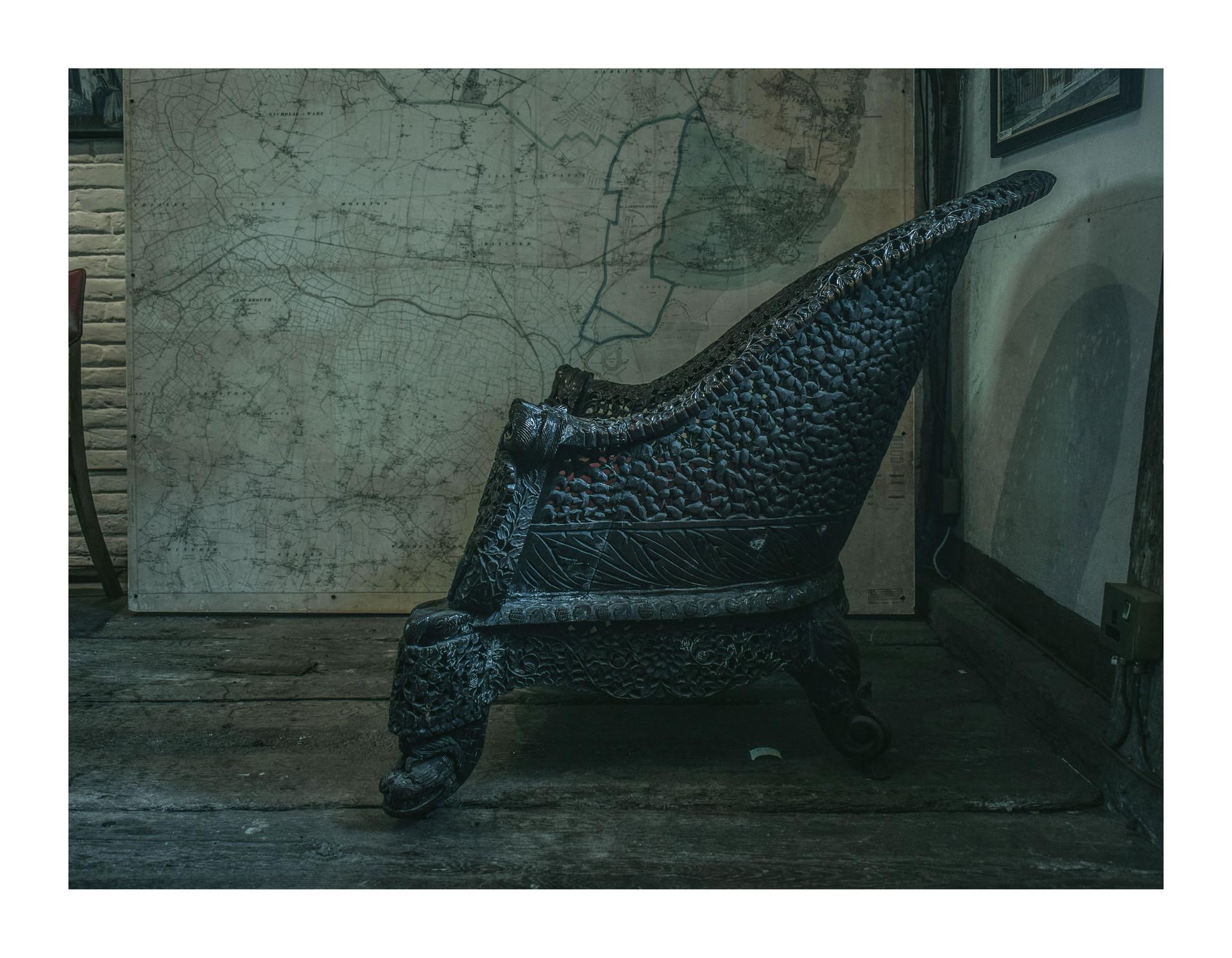 Antique Thai armchair - Tudor House Museum, Margate, 2018