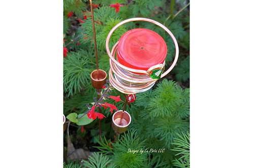 Copper Hummingbird Feeder, Staked with Ant Moat, Flower Pot Hummingbird Feeder