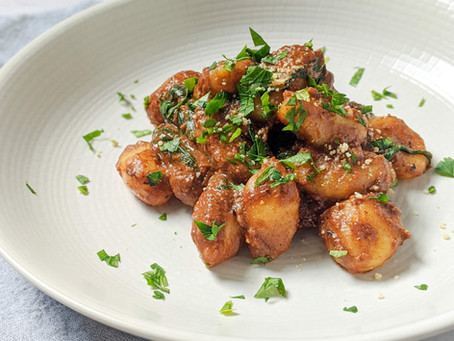 Recipe: Gnocchi with Spinach and a Creamy Black Garlic, Sun-Dried Tomato and Pine Nut Sauce